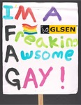 """""""Freaking Awesome Gay"""" sign by Betsy Parsons"""