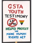 """""""GSTA Youth Testimony"""" sign by Betsy Parsons"""