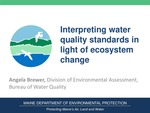 Interpreting Water Quality Standards in Light of Ecosystem Change (2015 State of the Bay Presentation) by Angela Brewer