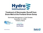 Treatment of Stormwater Runoff from Snow Melt at the Portland Snow Dump: Stormwater Management in Cold Climates