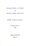 University of Maine in Portland and University of Maine School of Law Commencement Program 1966 by University of Maine in Portland