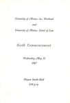 University of Maine in Portland and University of Maine School of Law Commencement Program 1967 by University of Maine in Portland