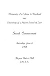 University of Maine in Portland and University of Maine School of Law Commencement Program 1968 by University of Maine in Portland