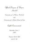 University of Maine in Portland and University of Maine School of Law Commencement Program 1969 by University of Maine in Portland