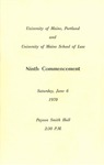 University of Maine in Portland and University of Maine School of Law Commencement Program 1970 by University of Maine in Portland