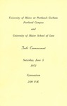 University of Maine Portland- Gorham and University of Maine School of Law Commencement Program 1971