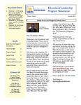 Educational Leadership Program Newsletter October 2010