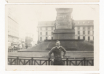 Elisée A. Dutil Posing in Front of Monument (2)