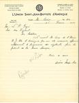 Letter from L'Union Saint Jean-Baptiste d'Amérique to the Association des Vigilants