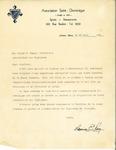 Letter from Association Saint-Dominique to the Association des Vigilants