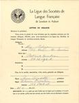 La Ligue des des Sociétés de Langue Française Letter by La Ligue des des Sociétés de Langue Française