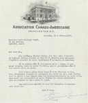 02/08/1947 Letter from the Association Canado-Américaine