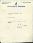 02/19/1947 Letter from the Office de l'Assistance aux Meres Necessiteuses, Québec