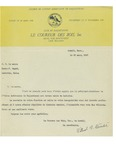 03/25/1947 Letter from Le Couruer des Bois, Inc.