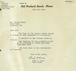 06/22/1948 Letter from the Town Clerk of Old Orchard Beach, Maine