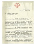06/10/1947 Letter from The City of Shawinigan Falls, Québec by Maurice Coutu