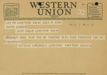 Western Union Telegram from City of Lewiston Employees