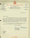 Letter from H.S. Hydes of The Travel Association, London