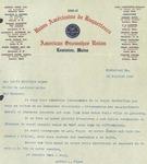 Letter from Arthur J. Viger of Union Américaine de Raquetteurs