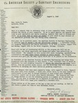 Letter from Joseph Dorsey of the American Society of Sanitary Engineering