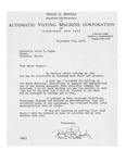 09/05/1947 Letter from the Automatic Voting Machine Corporation by Philip G. Bowker