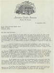 09/24/1947 Letter from the Association Canado-Américaine