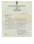 09/30/1947 Letter from the Duncan Meter Corporation by Perry Hutchinson