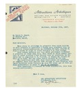 10/16/1947 Letter from Les Attractions Artistiques