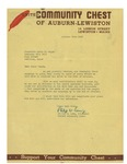 10/24/1947 Letter from the United Community Chest of Auburn-Lewiston