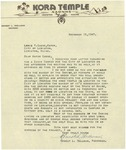 11/15/1947 Letter for the Lewiston Kora Temple