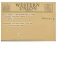11/21/1947 Western Union Telegram by Lucien Ruelland