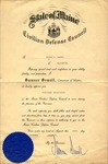 1942 Chairman of Blackouts Certificate by State of Maine Civilian Defense Council