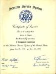 1947 Certificate of Service from Selective Service System