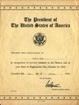 1941 Presidential Certificate of Recognition for Services by United States Government