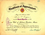 1950 Award from Lions Club of Auburn-Lewiston, Maine by Lions Club of Auburn-Lewiston, Maine