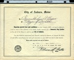 1947 Honorary Dog Catcher Award from the City of Auburn, Maine by City of Auburn, Maine