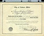 1947 Honorary Dog Catcher Award from the City of Auburn, Maine