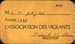 1947 L'Association Des Vigilantes Card by Raoul Williams