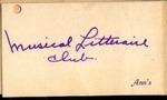 Musical Litteraire Club Card, Ann's