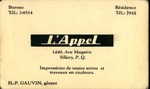 L'Appel French Business Card