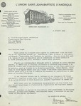 10/06/1940 Letter from l'Union Saint-Jean-Baptiste d'Amérique by George Fiteau