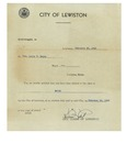 02/20/1948 Mayoral Election Notification from the City of Lewiston Maine by Lucien Lebel