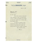 03/05/1948 Letter from Twin City Broadcasting Company, Inc. by Faust [Couture]