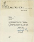 1/10/1948 Letter from The Waldorf-Astoria