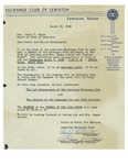 03/25/1948 Letter from the Exchange Club of Lewiston by Paul J. Fortier and Romeo Poirier