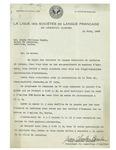 06/14/1948 Letter from La Ligue des Sociétés de Langue Française de Lewiston-Auburn