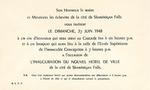 06/27/1948 Hôtel de Ville Invitation by Hôtel de Ville