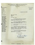 1948 Letter from The American Heritage Foundation