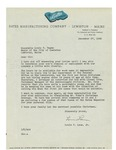 Letter from Bates Manufacturing Company