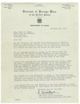 02/18/1949 Letter from the Veterans of Foreign Wars of the United States by J. D. Bruno